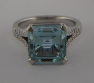 New mount with polished aquamarine