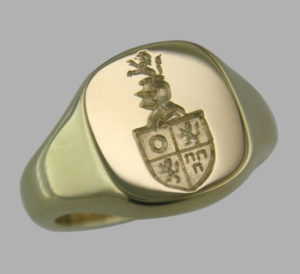 Seal-engraved-family-crest-cushion-ring