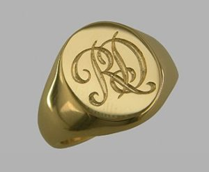 Seal engraved initials, oval ring